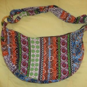 Handbags - Colorful Boho Sling Hobo Purse, Cotton Canvas, EUC
